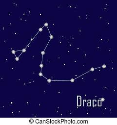 """hvězda, sky., """"draco"""", ilustrace, vektor, večer, souhvězdí"""