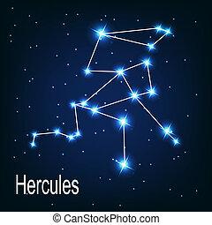 """hvězda, sky., """"hercules"""", ilustrace, vektor, večer, souhvězdí"""