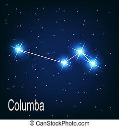 """hvězda, sky., ilustrace, """"columba"""", vektor, večer, souhvězdí"""