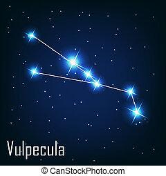 """"""", hvězda, sky., ilustrace, vulpecula"""", vektor, večer, souhvězdí"""