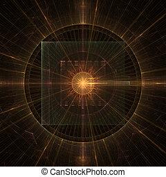 hvězdnatý, abstraktní, fractal, hodiny