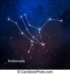 hvězdnatý, souhvězdí, nebe, večer
