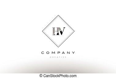 Hw H W Retro Vintage Black White Alphabet Letter Logo Hw H W