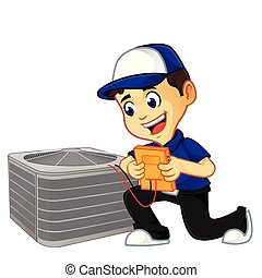 Hvac Cleaner or technician checking air conditioner - hvac...