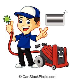 Hvac Cleaner or technician cleaning air duct - hvac cleaner...