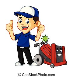 Hvac Cleaner or technician give thumbs up cartoon...