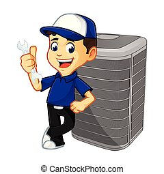 Hvac Cleaner or technician leaning on air conditioner...