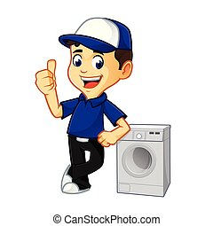 Hvac Cleaner or technician leaning on washing machine...