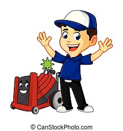 Hvac Cleaner or technician with rotobrush happy cartoon...