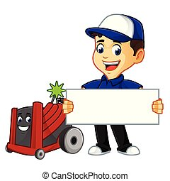 Hvac Cleaner or technician with rotobrush hold sign cartoon...