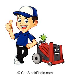 Hvac Cleaner or technician with rotobrush leaning cartoon...