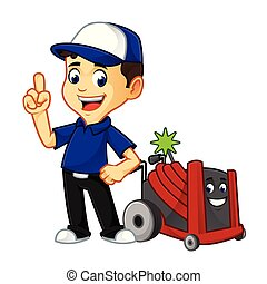Hvac Cleaner or technician with rotobrush pointing cartoon...