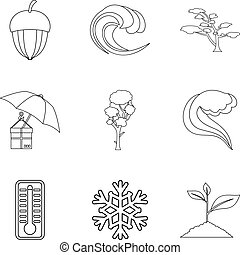 Hvac icons set, outline style - Hvac icons set. Outline set...