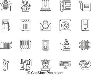 Hvac line icons, signs, vector set, outline illustration...