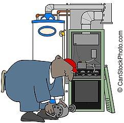 HVAC man installing a furnace motor - Illustration of a...