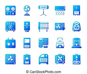 Hvac simple gradient icons vector set - Hvac silhouette...
