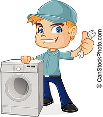 HVAC Technician holding washing machine isolated in white...