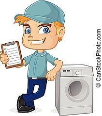 hvac, tecnico, inclinandosi, lavatrice