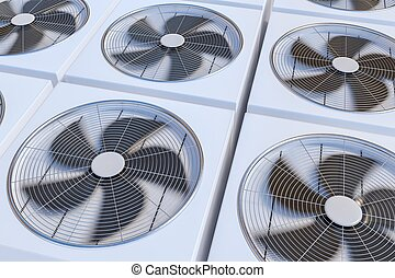 HVAC units (heating, ventilation and air conditioning). 3D...