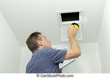 hvac, vérification, système, air, conduits, maison