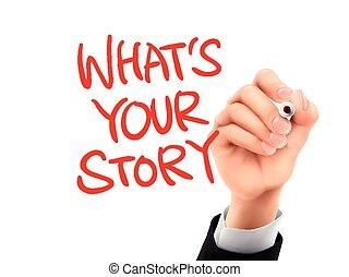 hvad, historie, hånd skrevne, din, 3