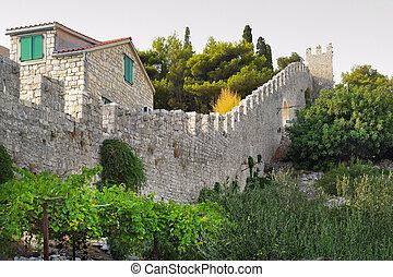 Hvar town walls - Detail of Hvar town walls, Croatia