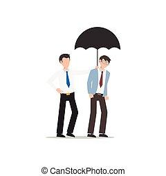 hver, kammerat, firma, white., isoleret, karakter, andet., lejlighed, illustration, cartoon, konstruktion, hjælper, umbrella., begreb, mand, give