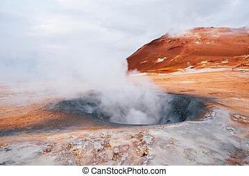 hverir, bereich, island, namafjall, -, feld, geothermisch