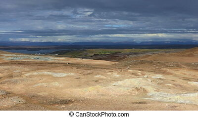 Hverir geothermal site in Iceland - Panoramic view of...