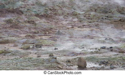 Hverir Namafjall geothermal area in Iceland - The sulfur...