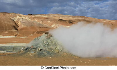 Hverir Namafjall geothermal site in Iceland with fumaroles...