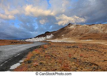 Hverir Namafjall geothermal site in Iceland - Landscape of...