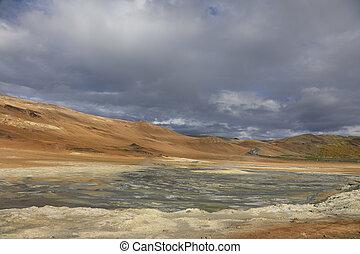 hverir, namafjall, geothermisch, bereich, in, island