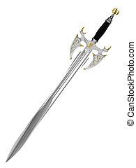 hvid, ancient, baggrund, isoleret, sværd