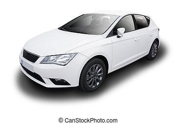 hvid, automobilen