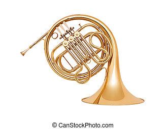 hvid baggrund, isoleret, fransk horn