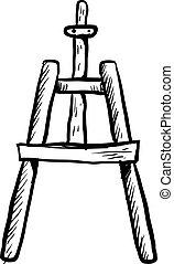hvid, baggrund., vektor, illustration, skitse, staffeli