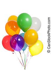 hvid, balloner, farvet baggrund
