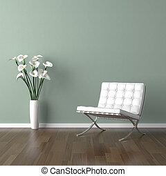 hvid, barcelona, stol, på, grønne
