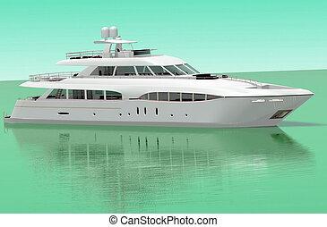 hvid, behagelighed, yacht