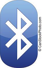 hvid, bluetooth, isoleret, ikon