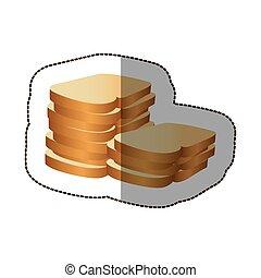 hvid brød, farverig, ikon