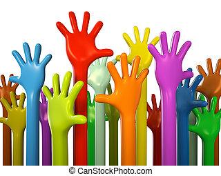 hvid, colourful, isoleret, baggrund, hænder