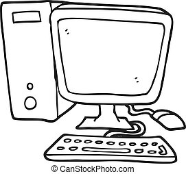 hvid, computer, sort, cartoon, desktop
