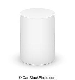 hvid, cylinder, på hvide, baggrund.