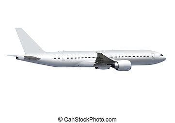 hvid, flyvemaskine, hos, sti