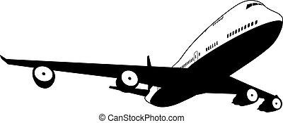 hvid, flyvemaskine, sort