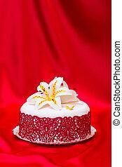 hvid, fondant, kage, dekorer, hos, rød, snørebånd, og, spiselig, slik, lilje, på, silke, baggrund