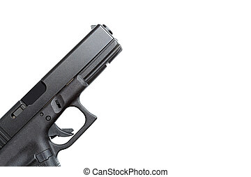hvid, handgun, isoleret