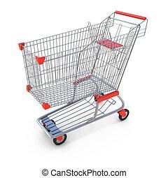 hvid, indkøb, isoleret, cart